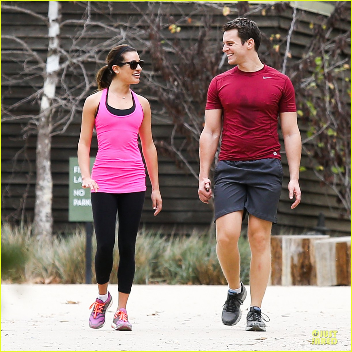 lea michele stretches with jonathan groff during hike 083039715