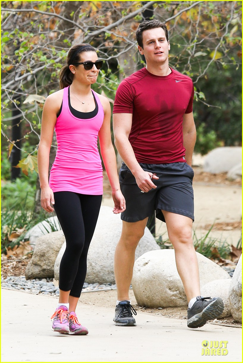 lea michele stretches with jonathan groff during hike 093039716