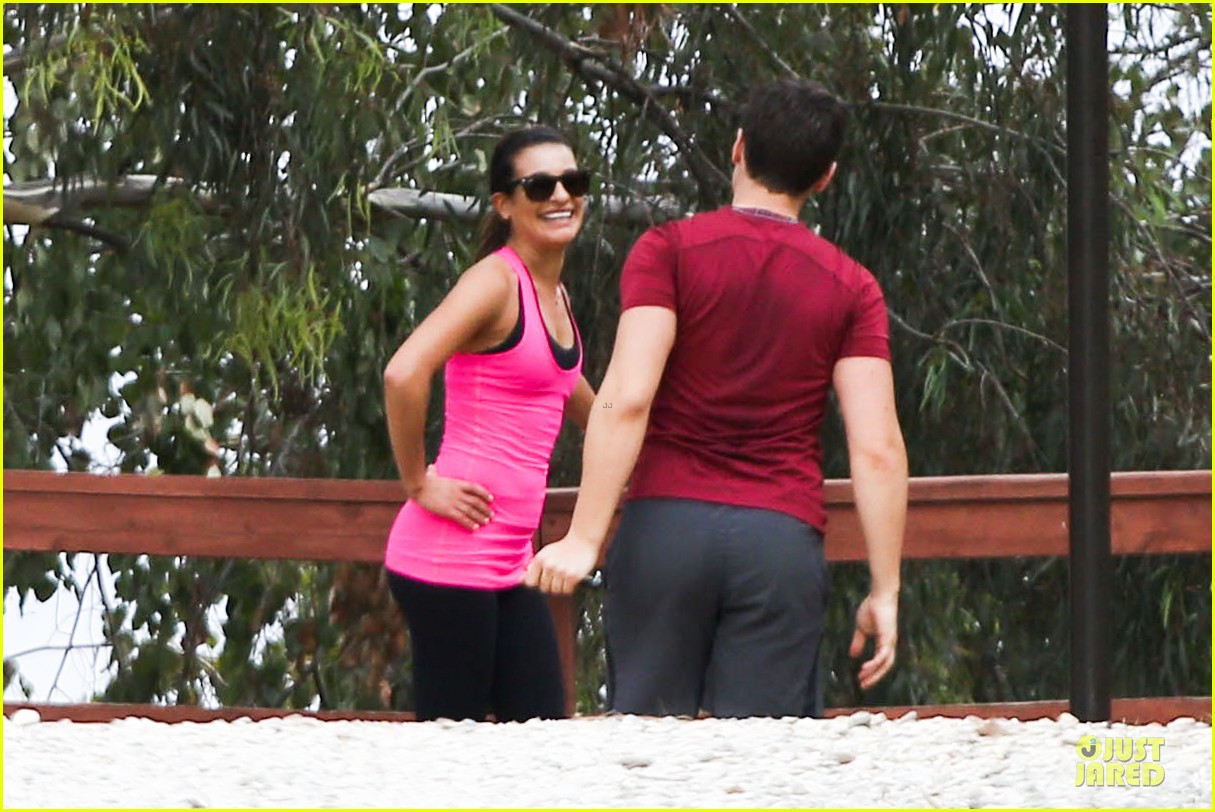 lea michele stretches with jonathan groff during hike 103039717