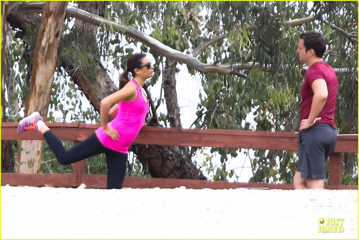 lea michele stretches with jonathan groff during hike 123039719