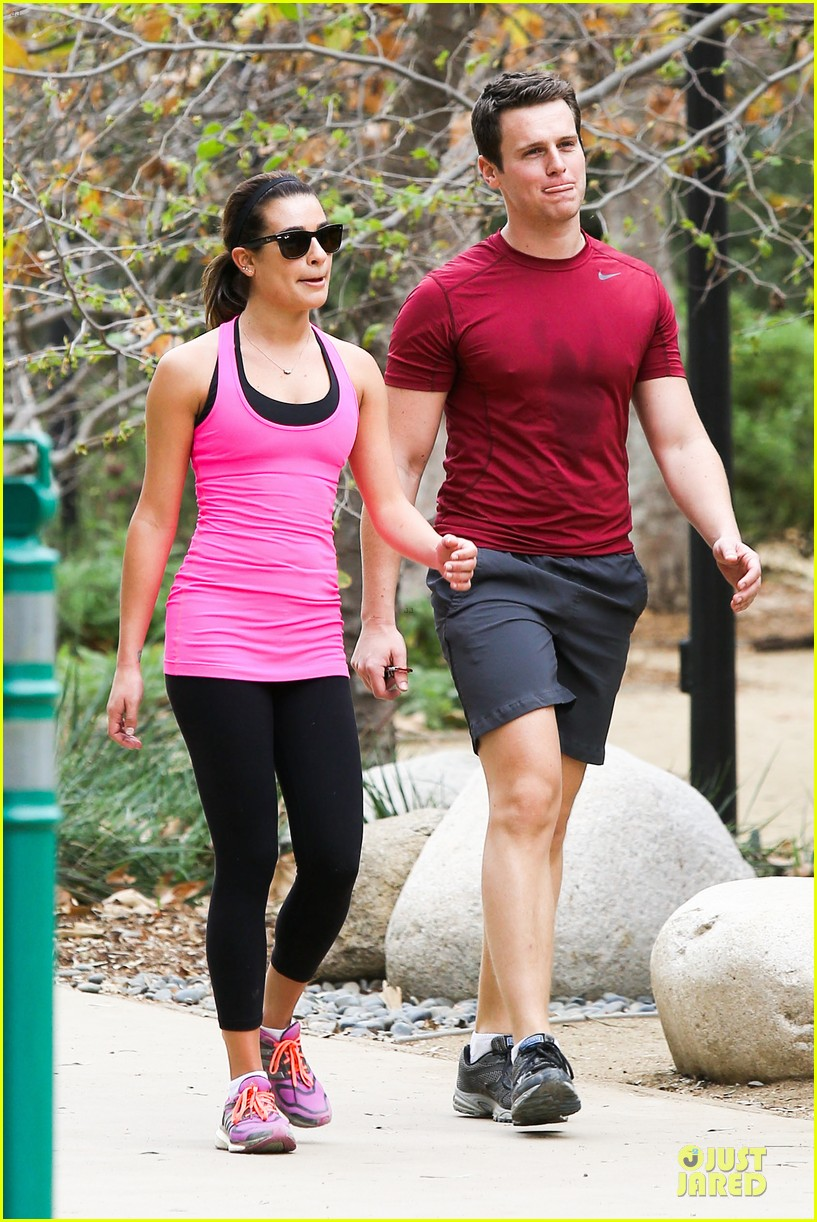 lea michele stretches with jonathan groff during hike 133039720