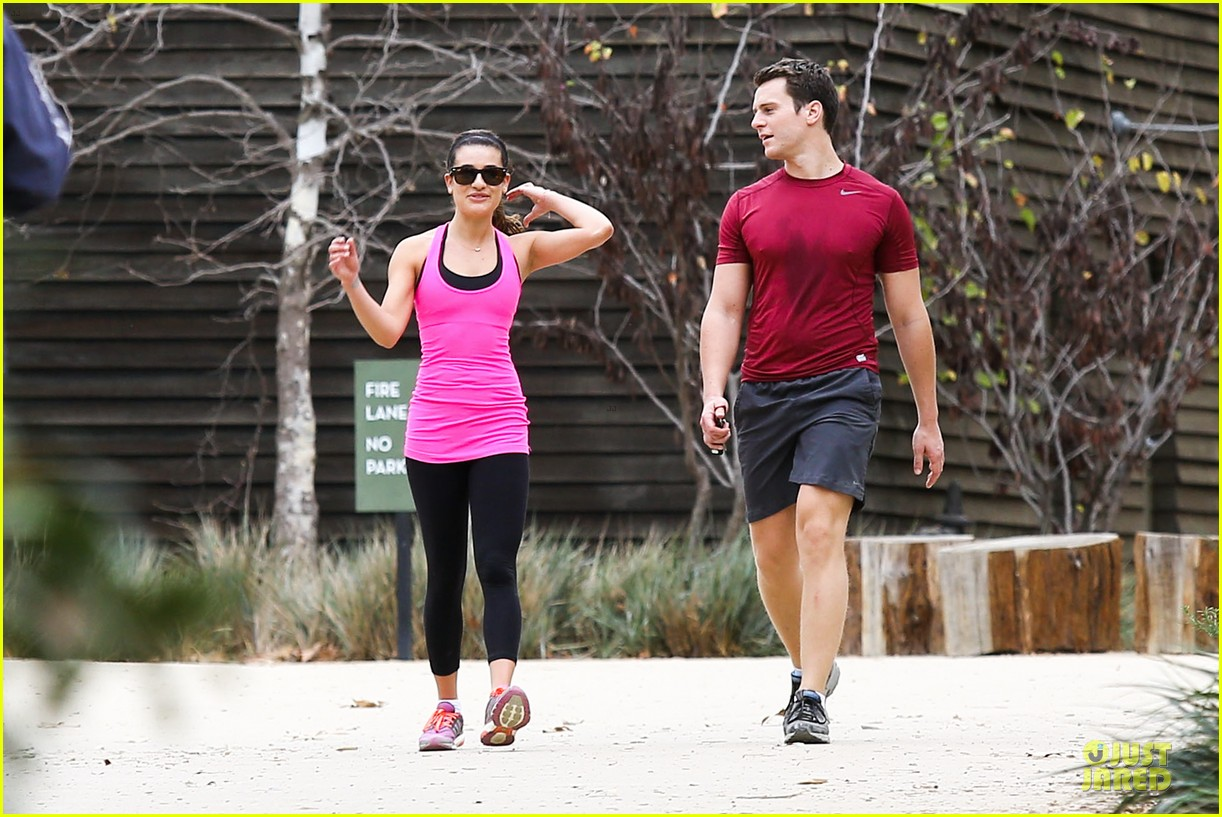 lea michele stretches with jonathan groff during hike 143039721