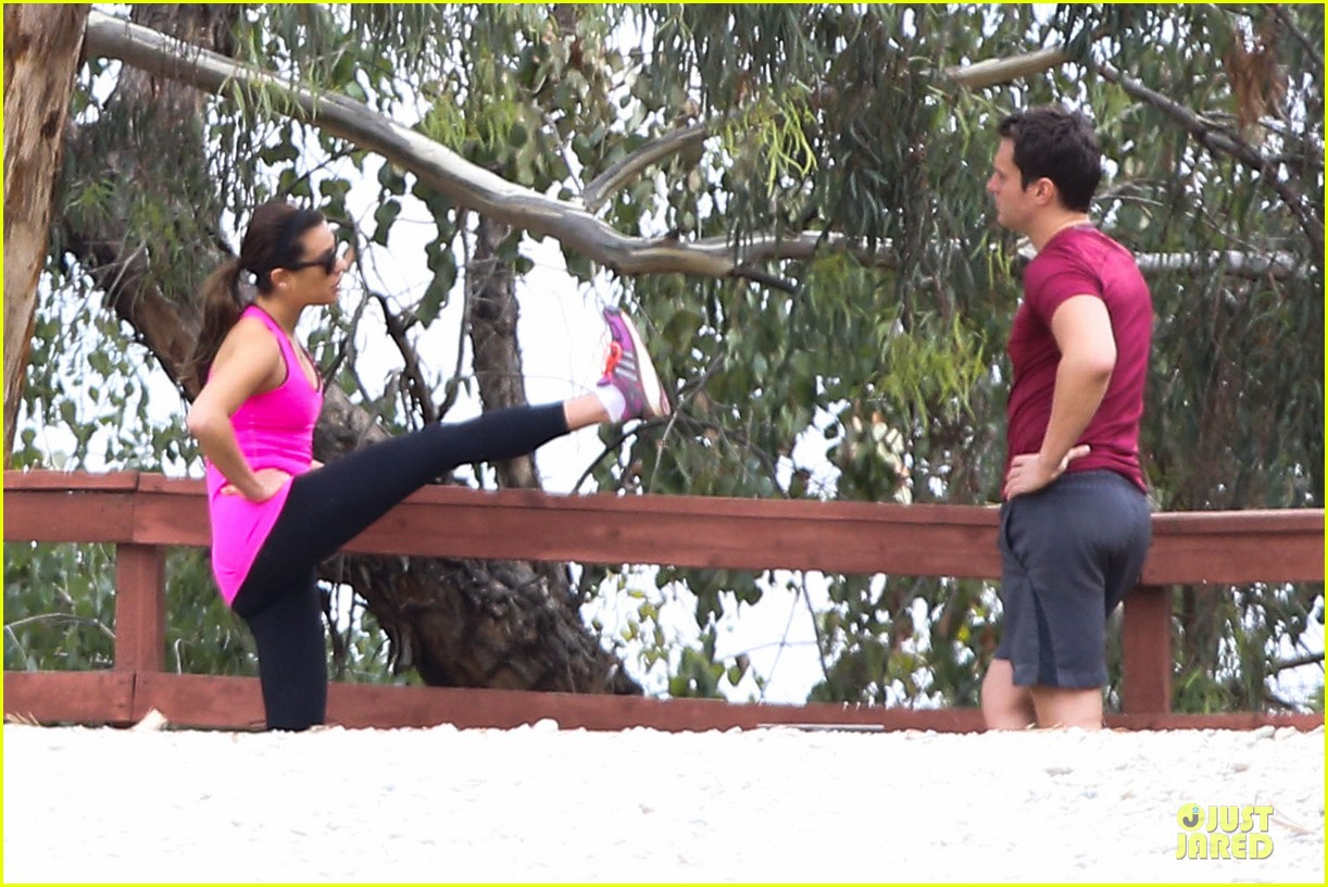 lea michele stretches with jonathan groff during hike 153039722