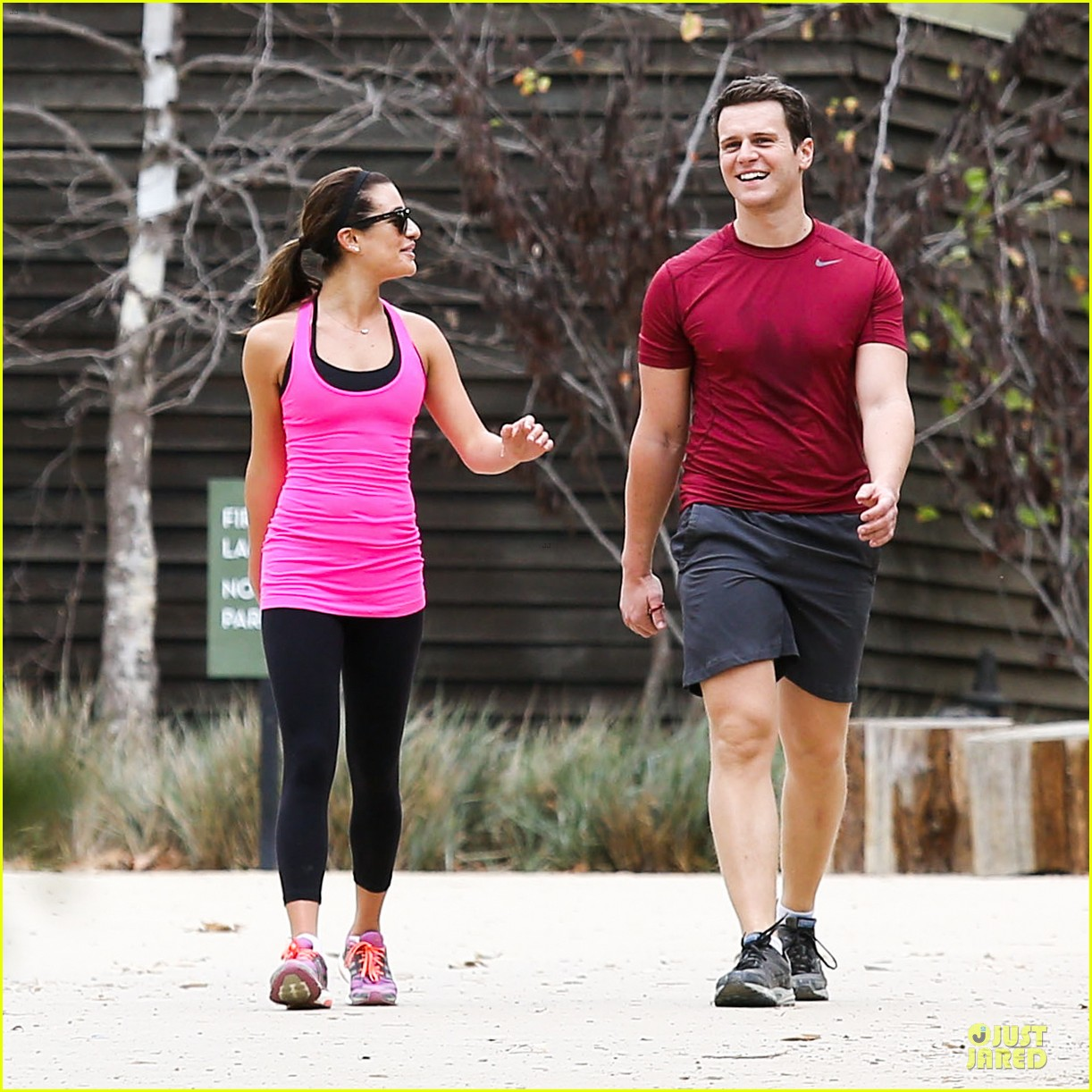 lea michele stretches with jonathan groff during hike 163039723