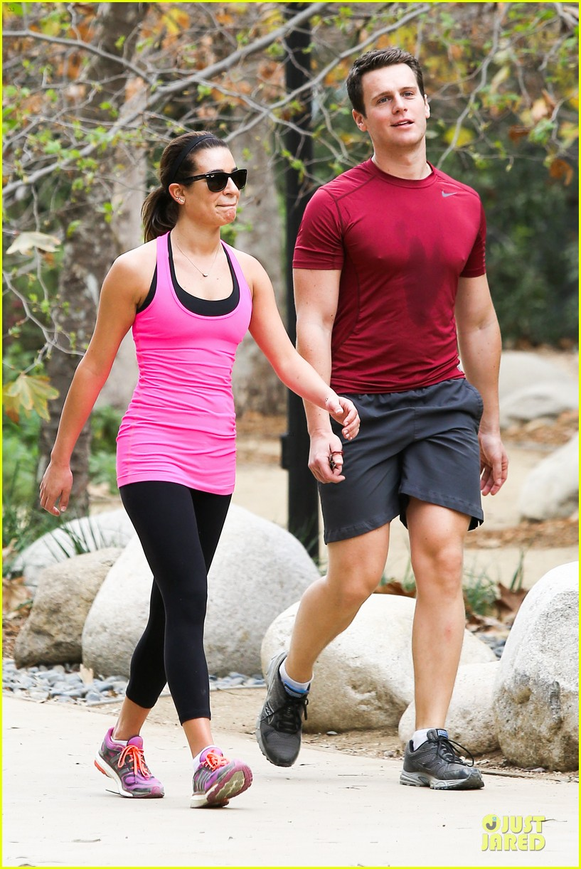 lea michele stretches with jonathan groff during hike 183039725