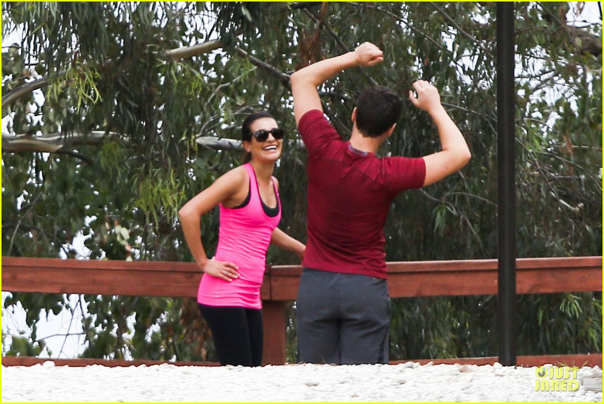 lea michele stretches with jonathan groff during hike 193039726