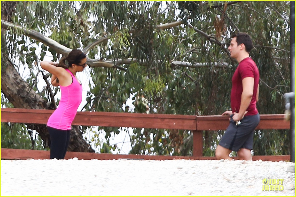 lea michele stretches with jonathan groff during hike 233039730