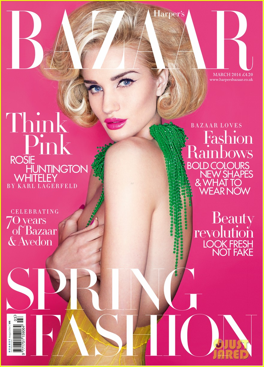 rosie huntington whiteley covers bare breasts for harpers bazaar uk march 2014 01