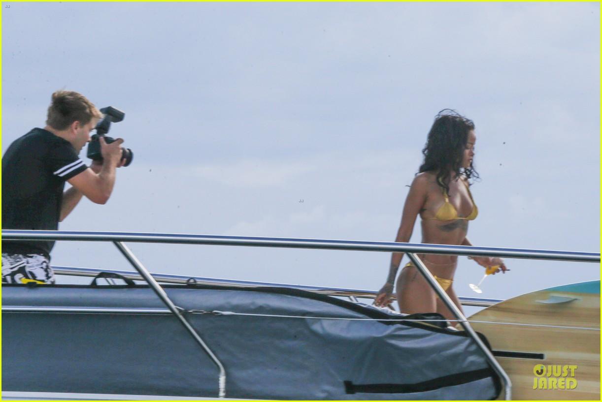 rihanna gold bikini beach babe in brazil 303036028