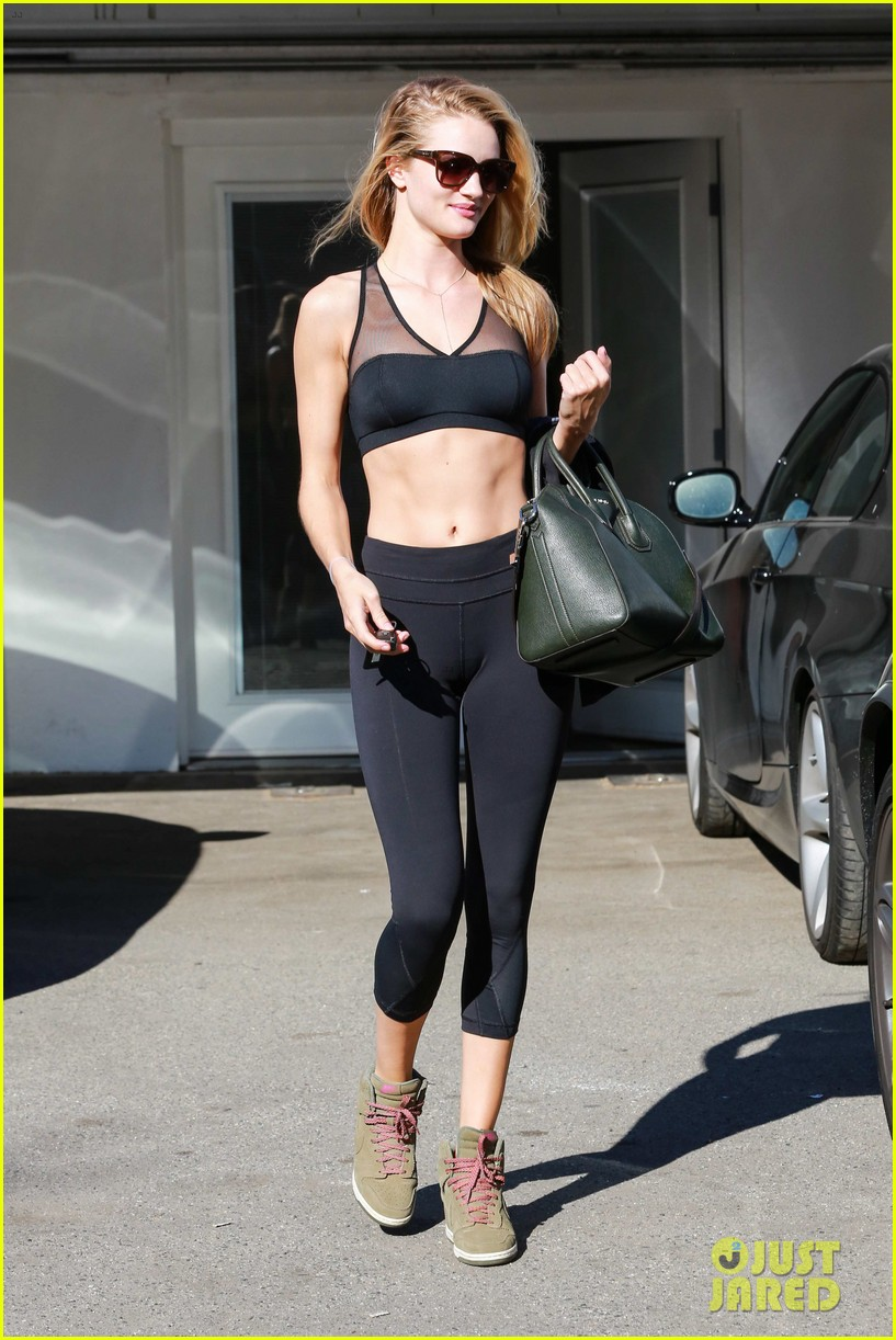 a696f17d71 Rosie Huntington-Whiteley Dons Sheer Sports Bra to the Gym  Photo ...
