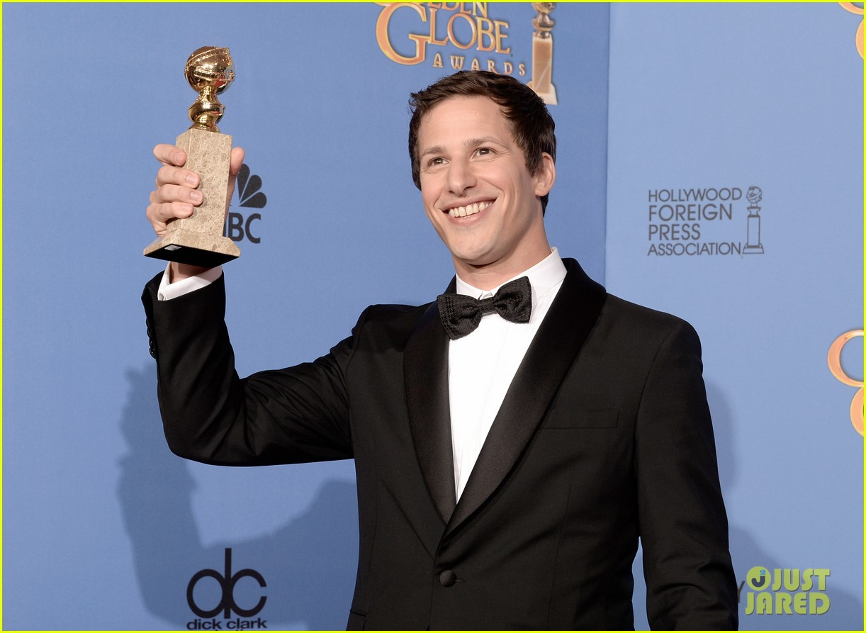 Andy Samberg with his first Golden Globe Award win