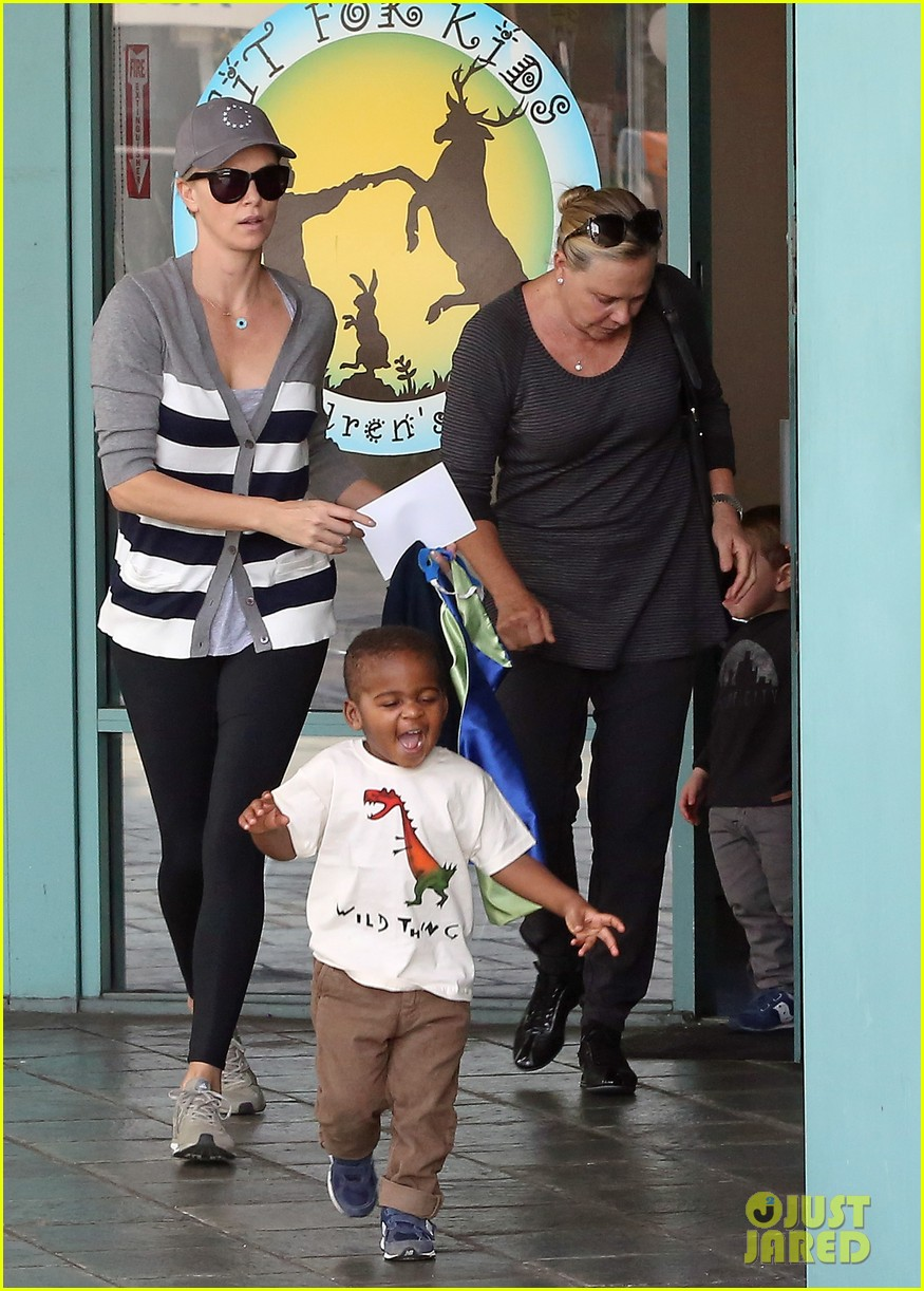 charlize theron takes caped crusader jackson to the gym 033025334