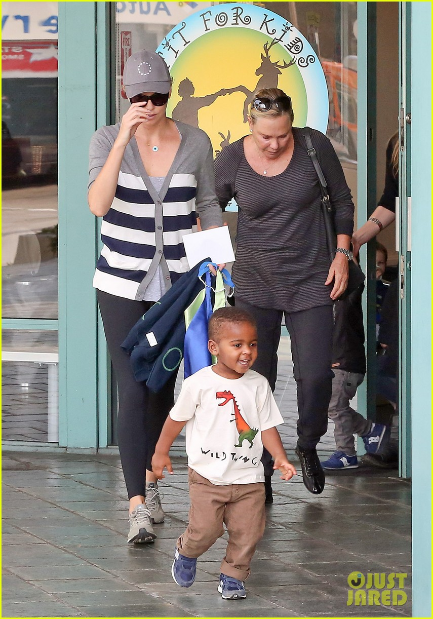 charlize theron takes caped crusader jackson to the gym 043025335