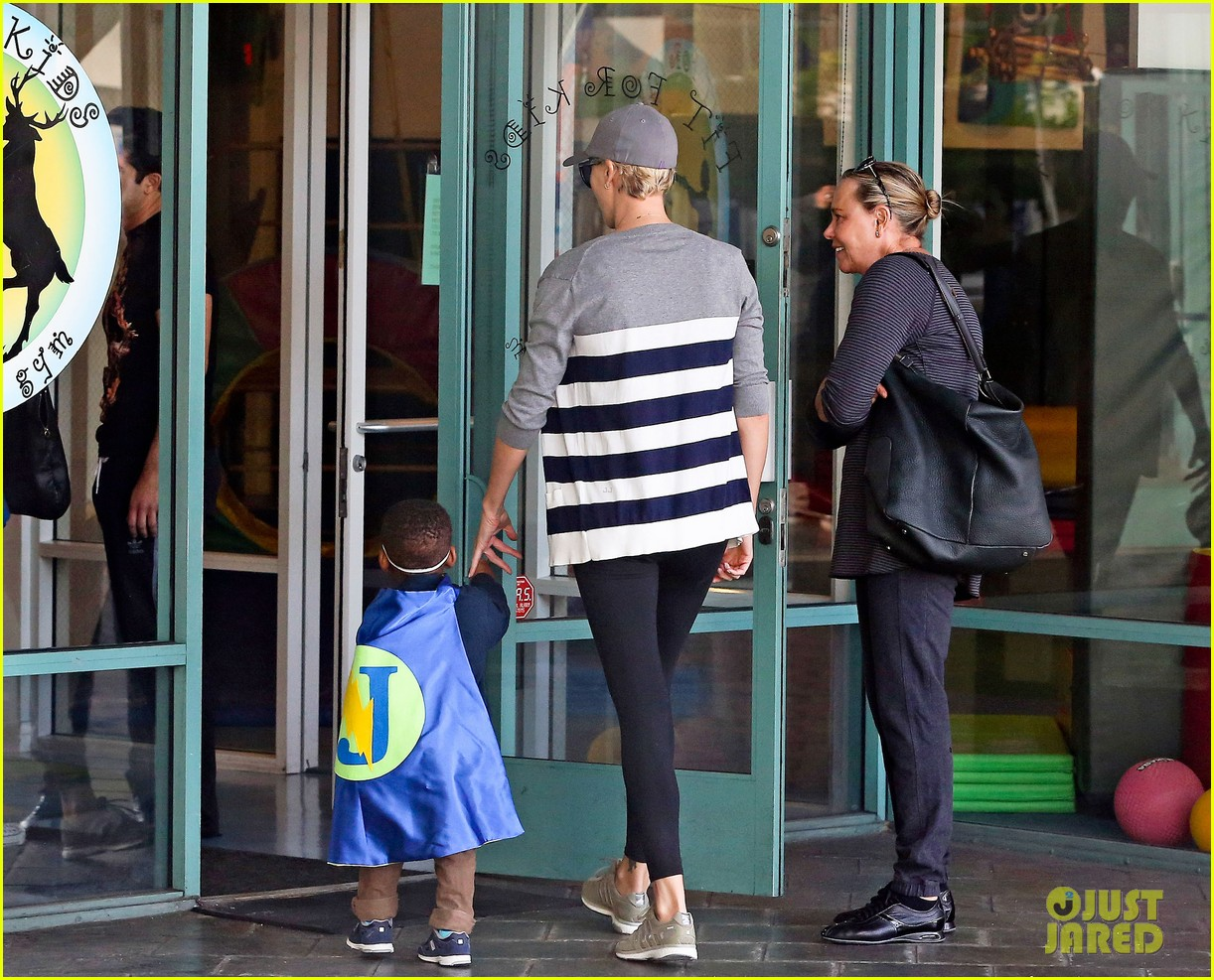 charlize theron takes caped crusader jackson to the gym 073025338