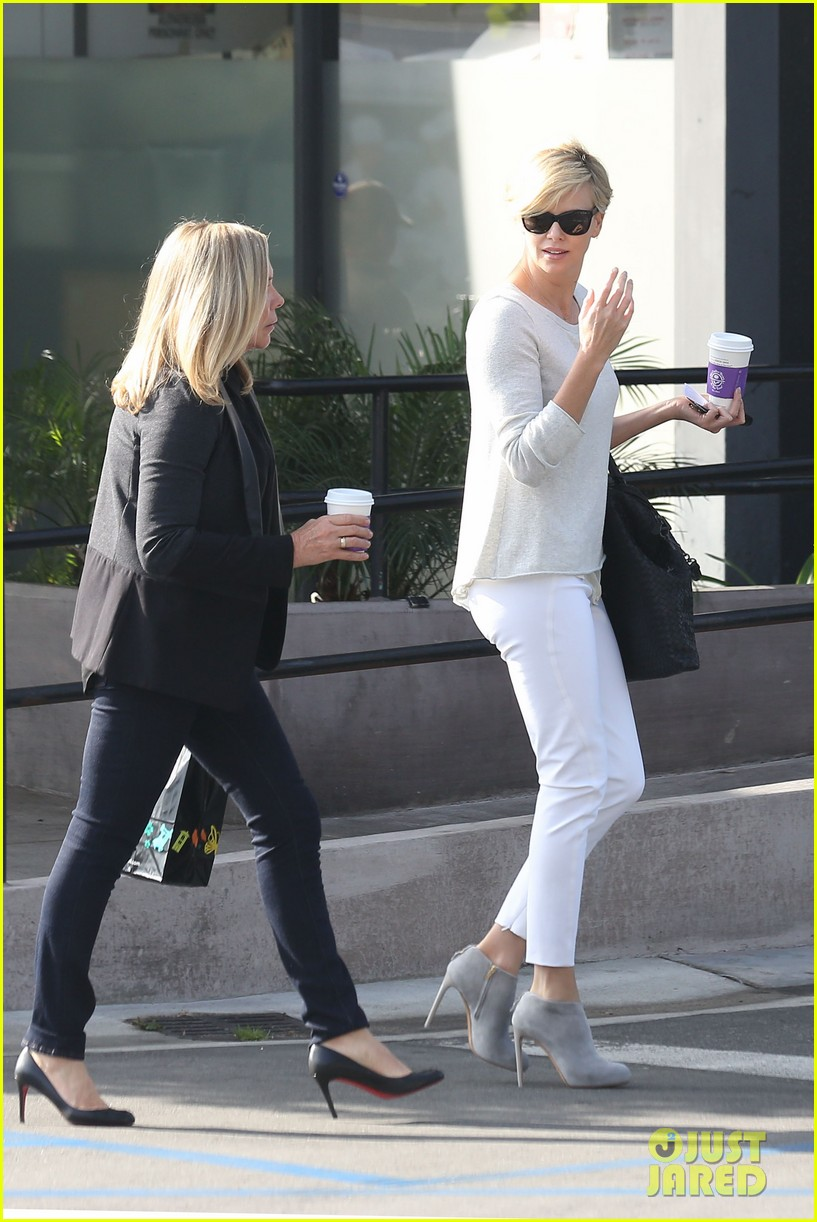 charlize theron vision in white for coffee run 043027201