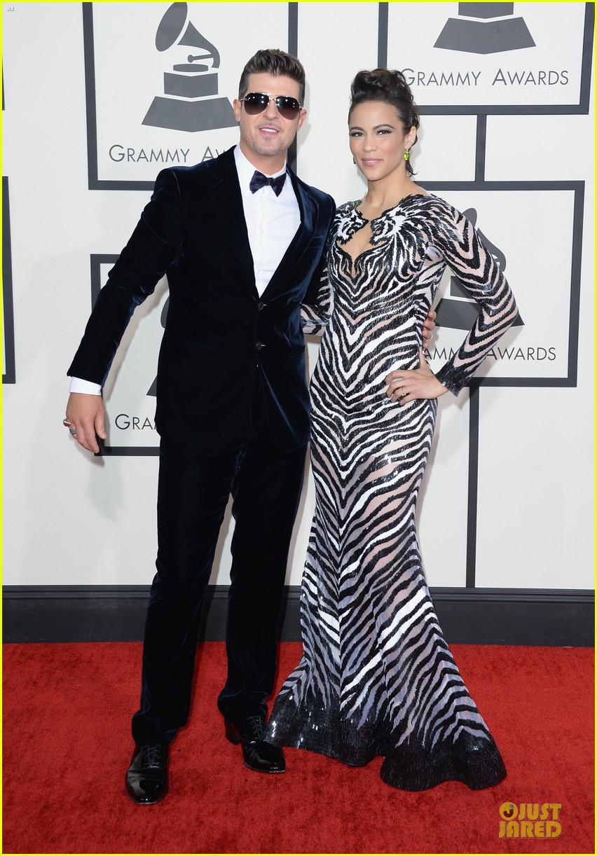 robin thicke paula patton grammys 2014 red carpet 053041128