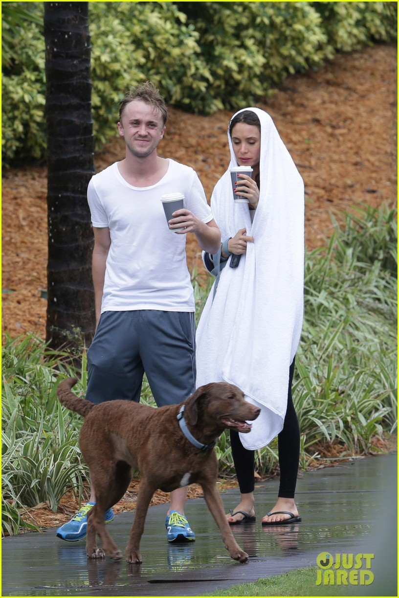 tom felton jade olivia rainy day dog walk 023021009
