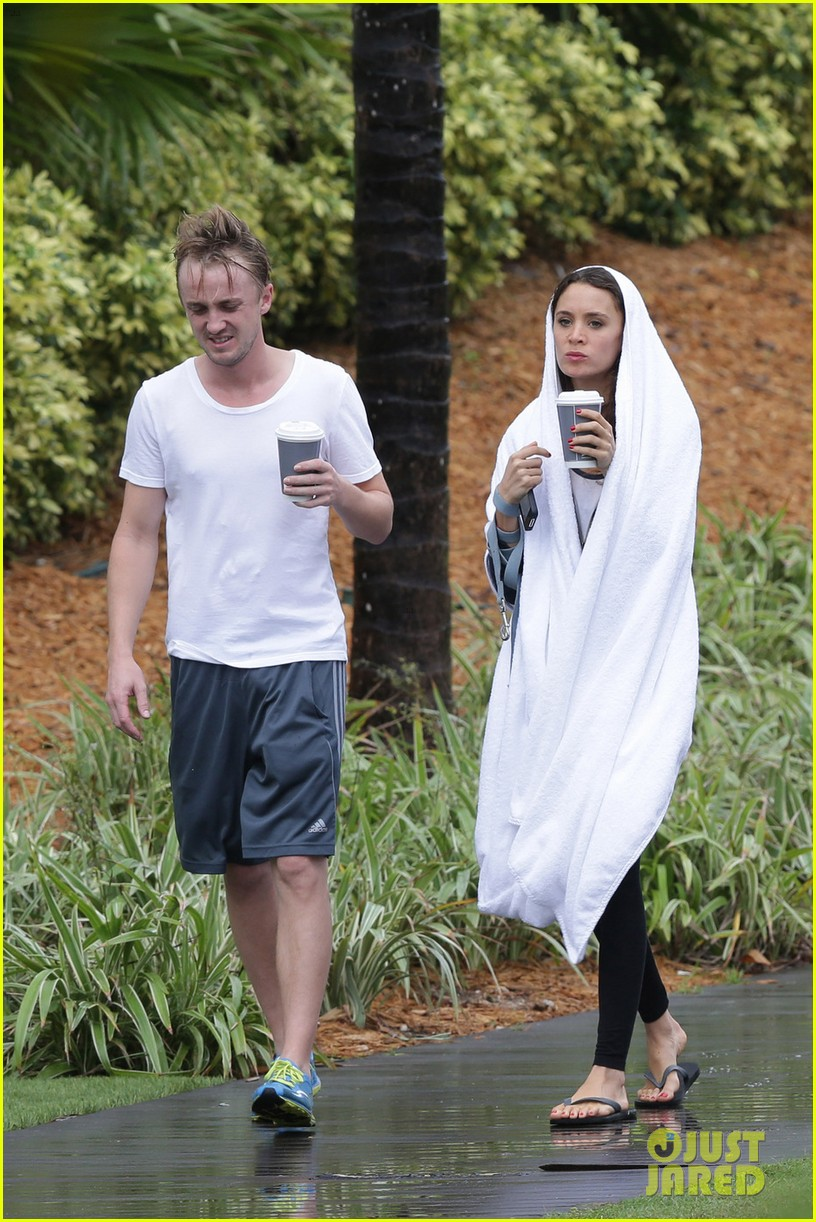 tom felton jade olivia rainy day dog walk 12