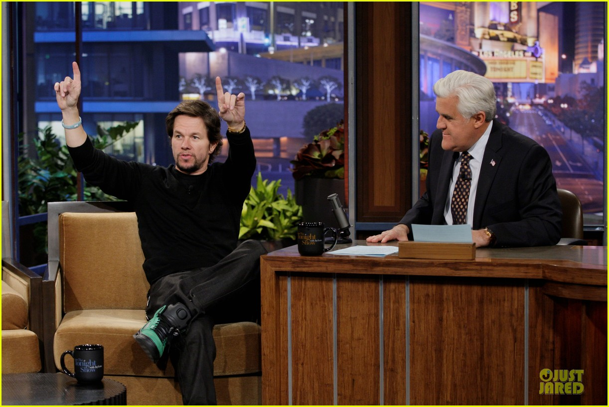 mark wahlberg promotes lone survivor on leno extra 053024892