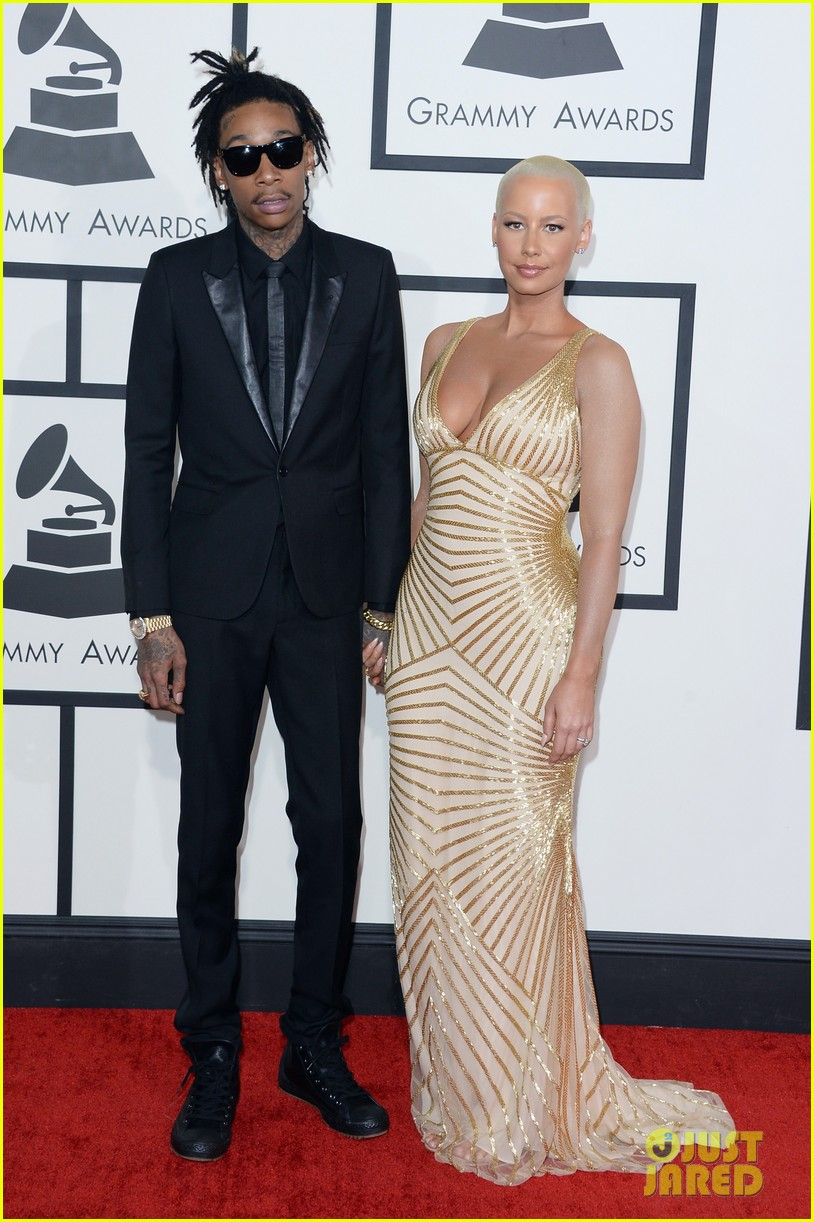 wiz khalifa amber rose grammys 2014 red carpet 053041069