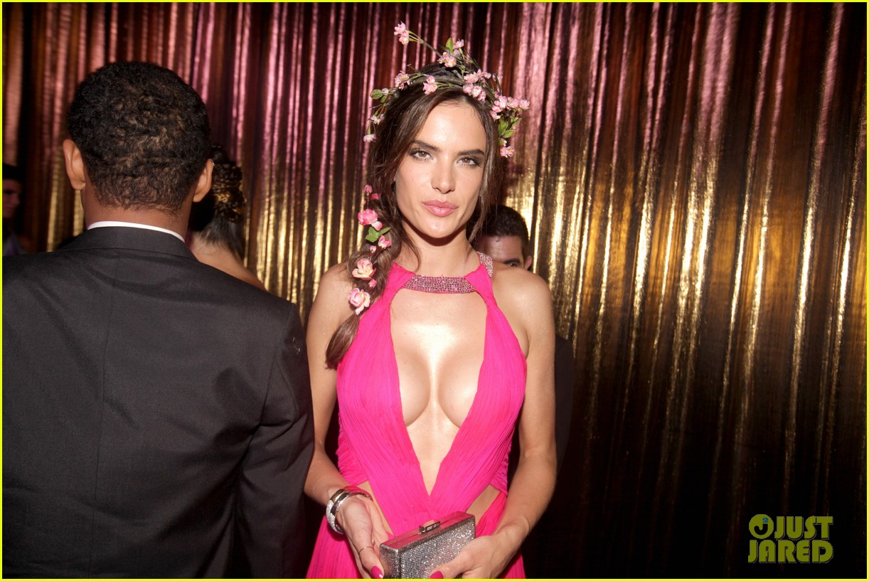 alessandra ambrosio displays all her assets with plunging neckline high slit dress 023058062