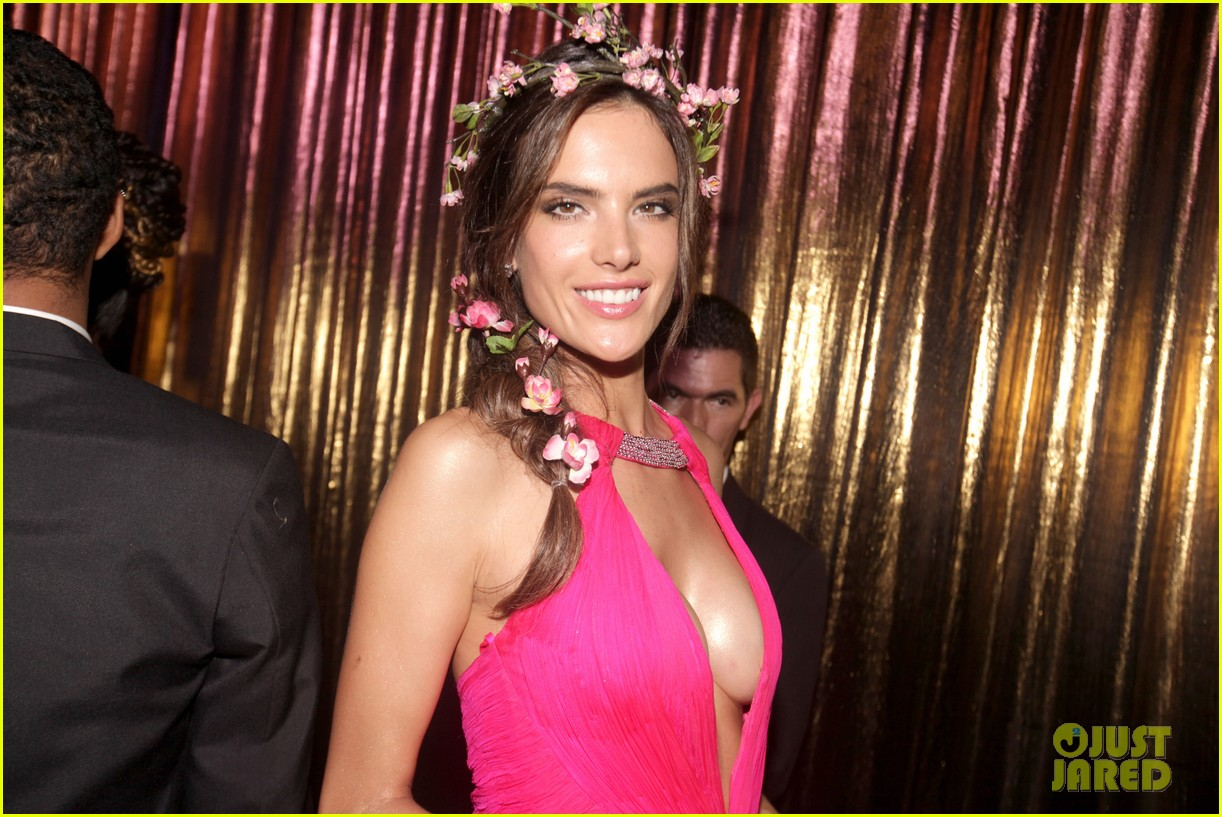 alessandra ambrosio displays all her assets with plunging neckline high slit dress 043058064