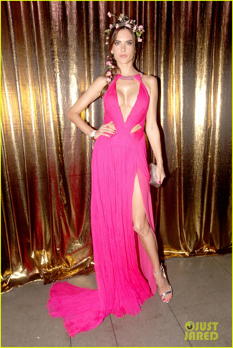 alessandra ambrosio displays all her assets with plunging neckline high slit dress 053058065