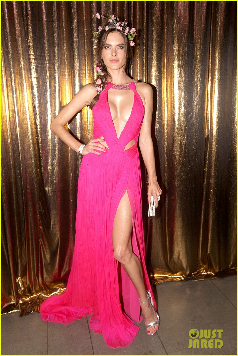 alessandra ambrosio displays all her assets with plunging neckline high slit dress 063058066