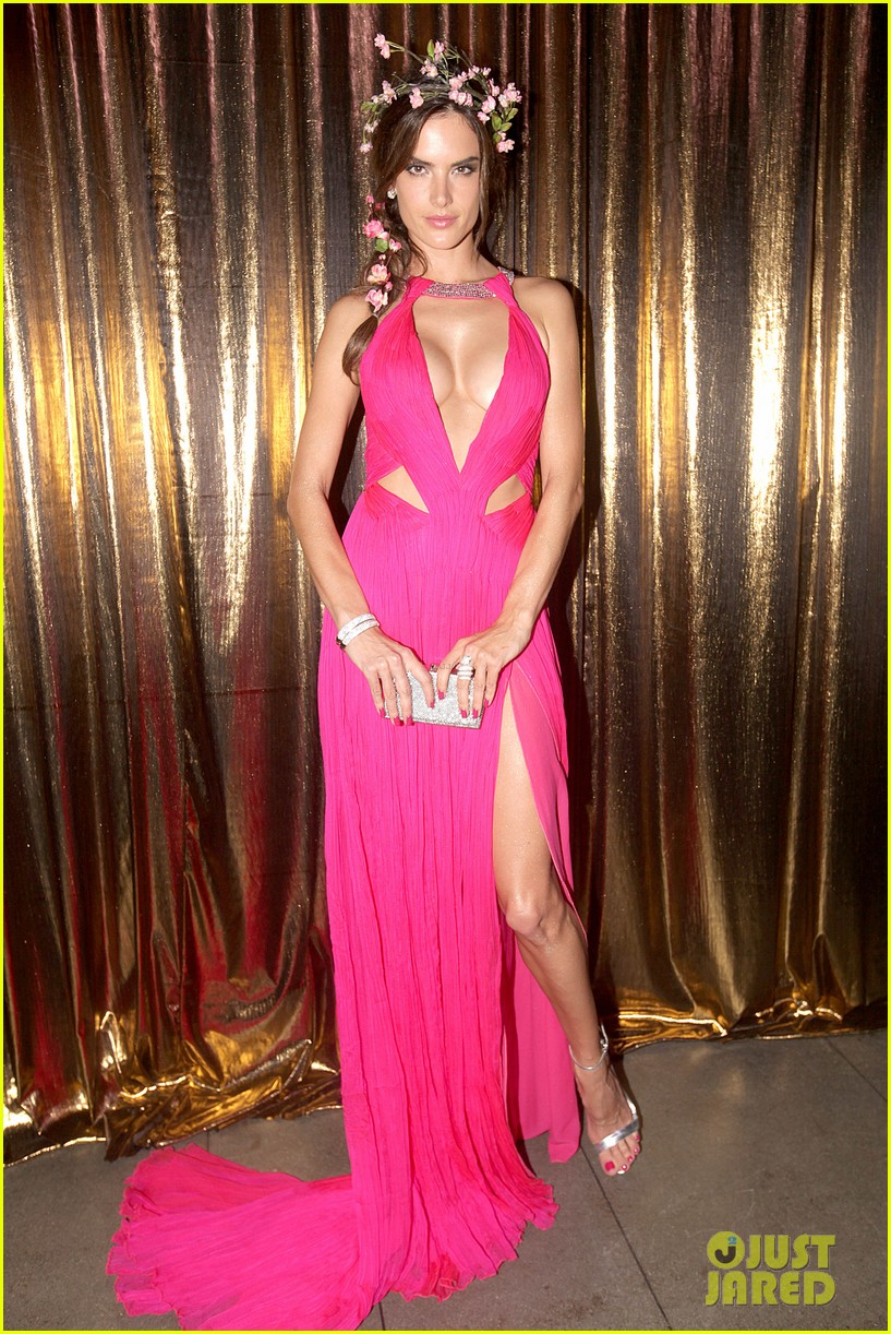 alessandra ambrosio displays all her assets with plunging neckline high slit dress 103058070