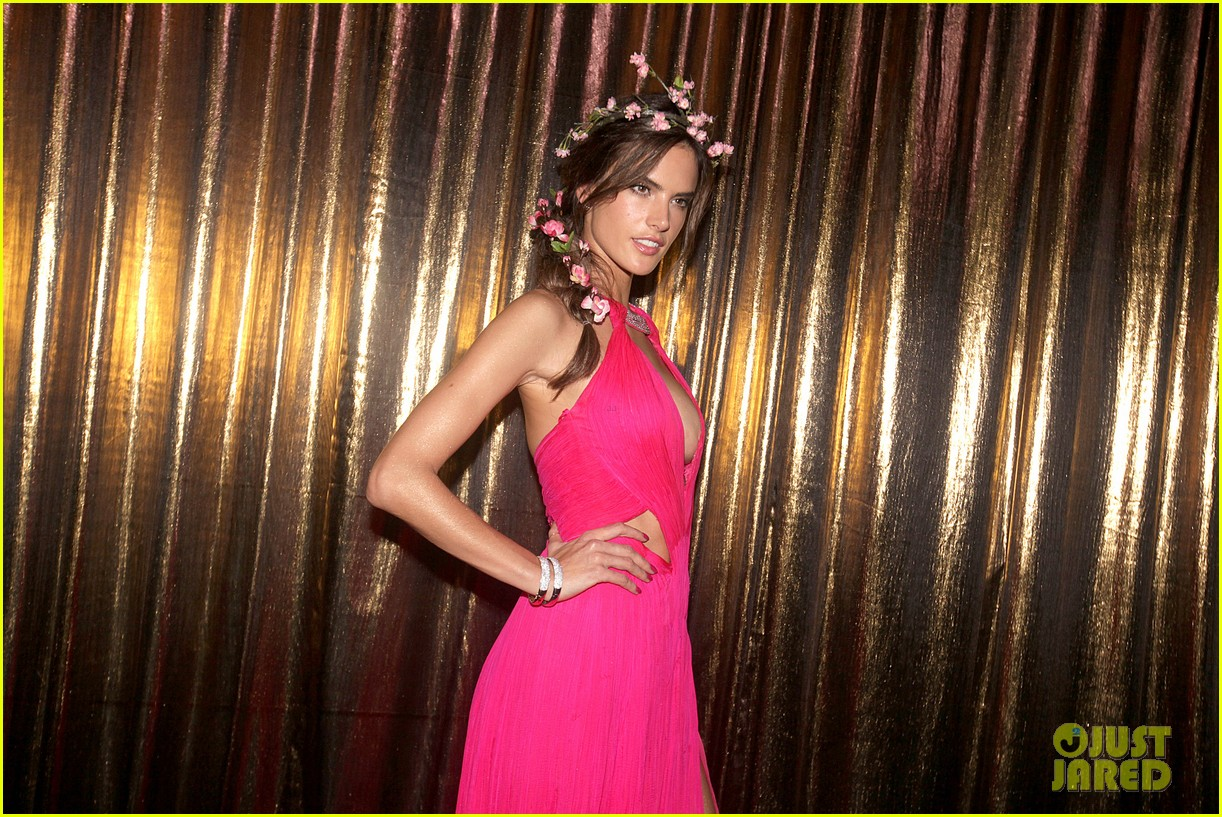 alessandra ambrosio displays all her assets with plunging neckline high slit dress 113058071