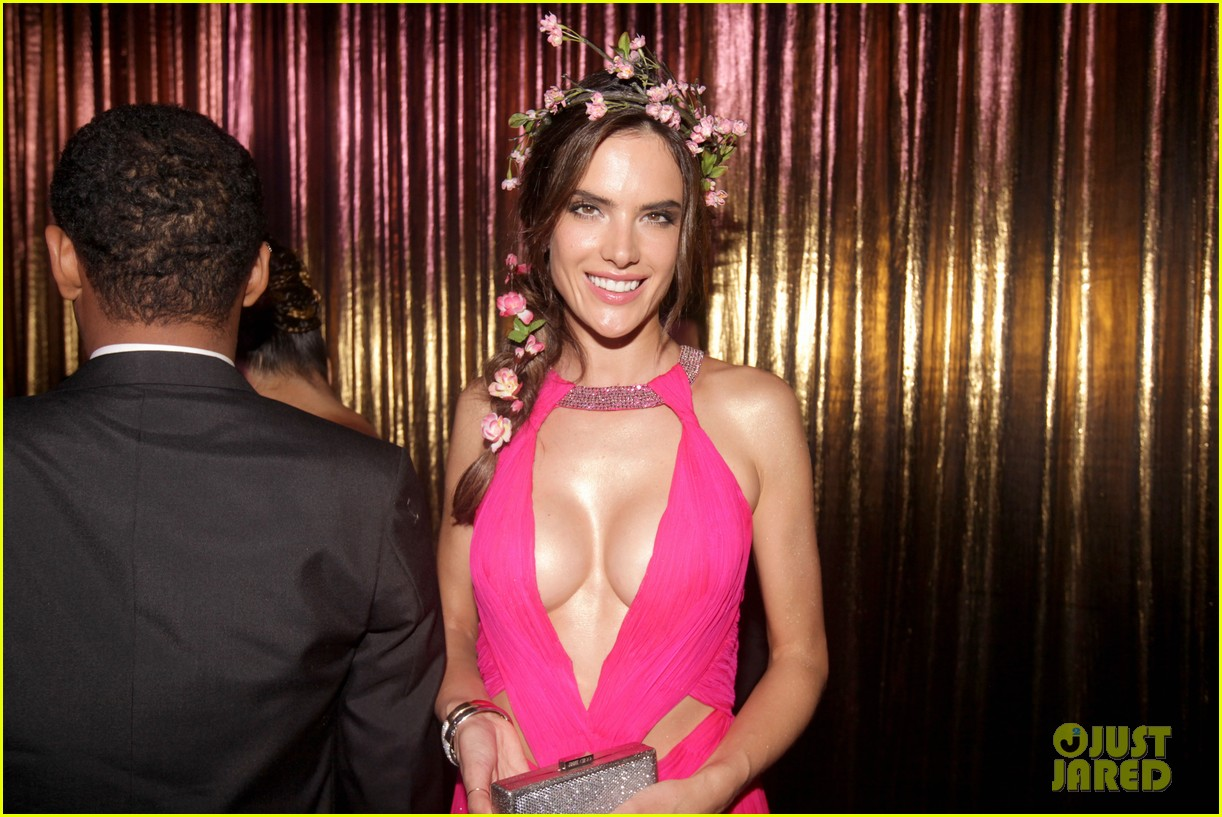 alessandra ambrosio displays all her assets with plunging neckline high slit dress 193058079
