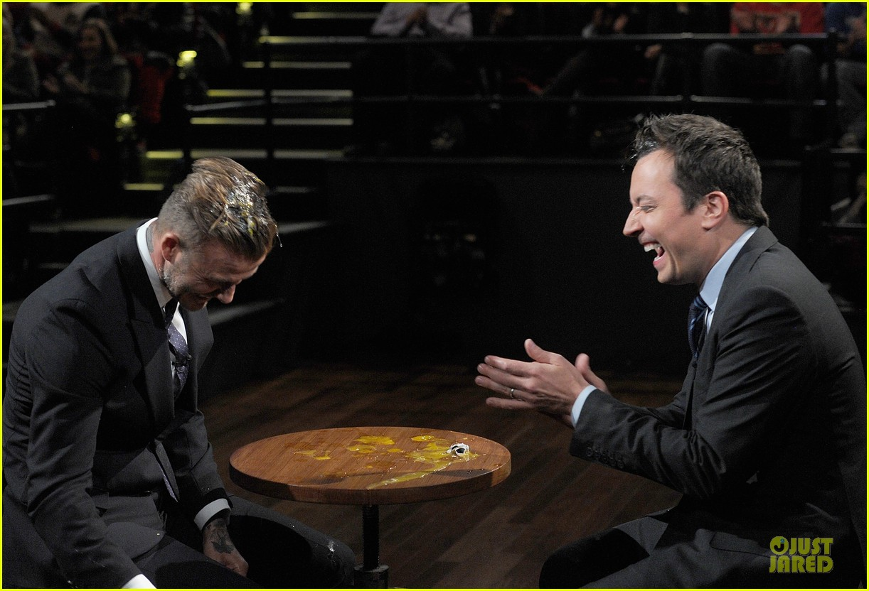 david beckham rocks yolk for egg russian roulette on fallon 223045181