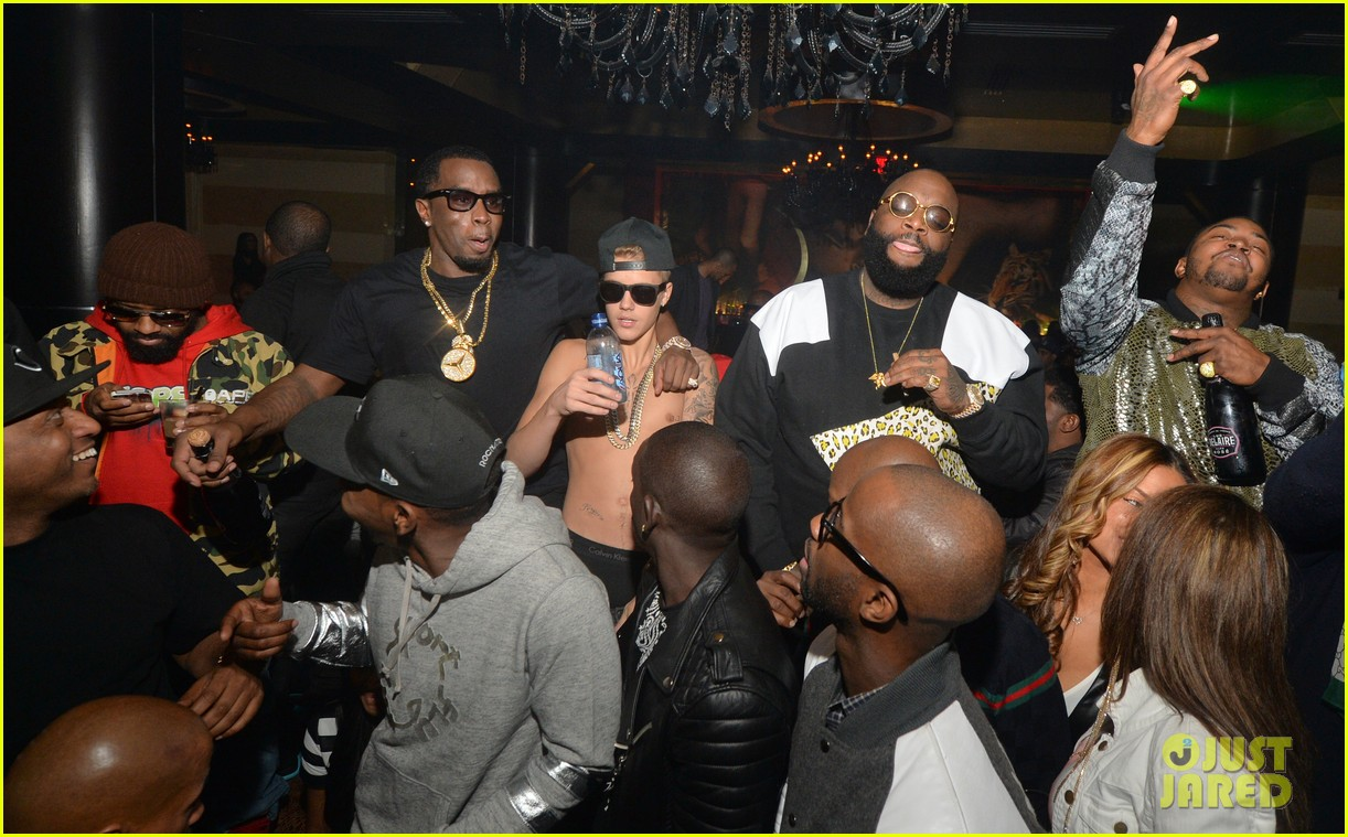 justin bieber goes shirtless parties in underwear with sean diddy combs 02