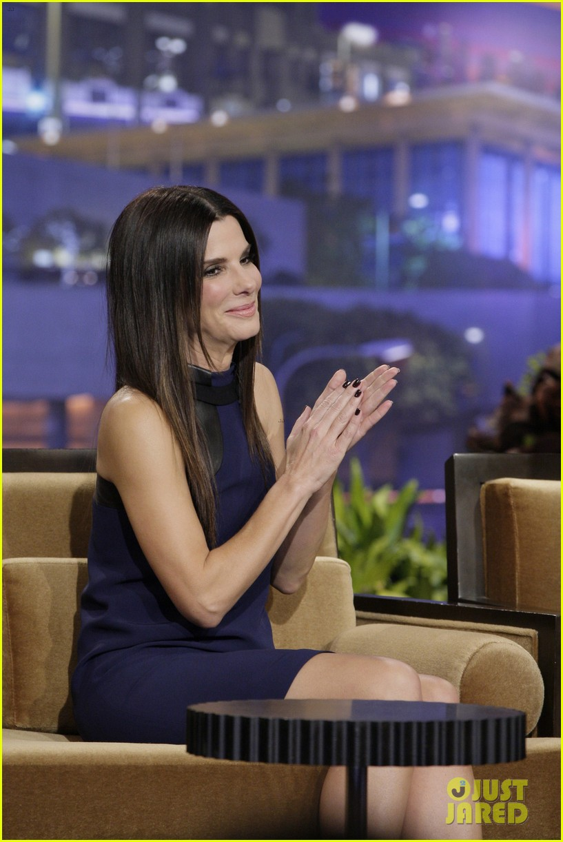 sandra bullock visits jay leno for his second to last show 023048311