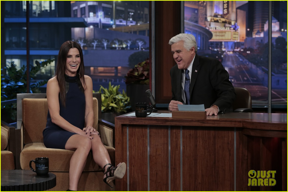 sandra bullock visits jay leno for his second to last show 033048312