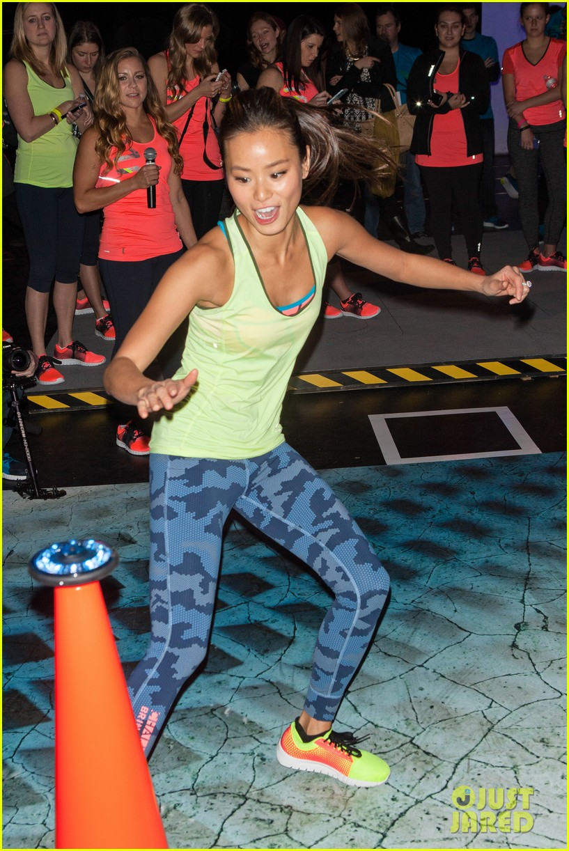 jamie chung flexes her muscles while testing reebok shoes 223048190