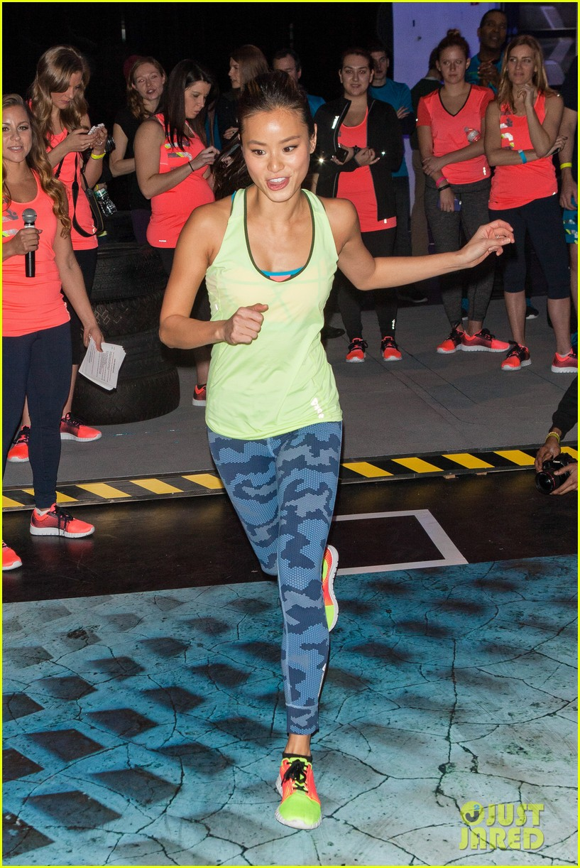 jamie chung flexes her muscles while testing reebok shoes 243048192