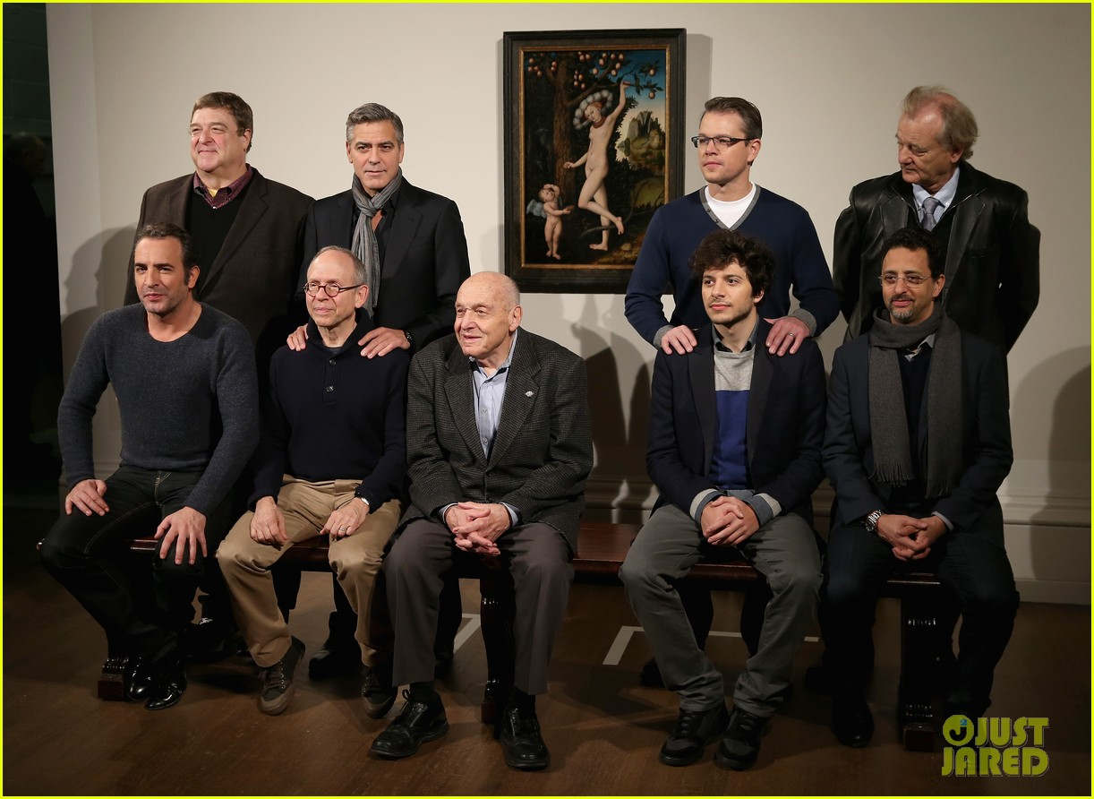 george clooney matt damon monuments men national gallery photo call 05