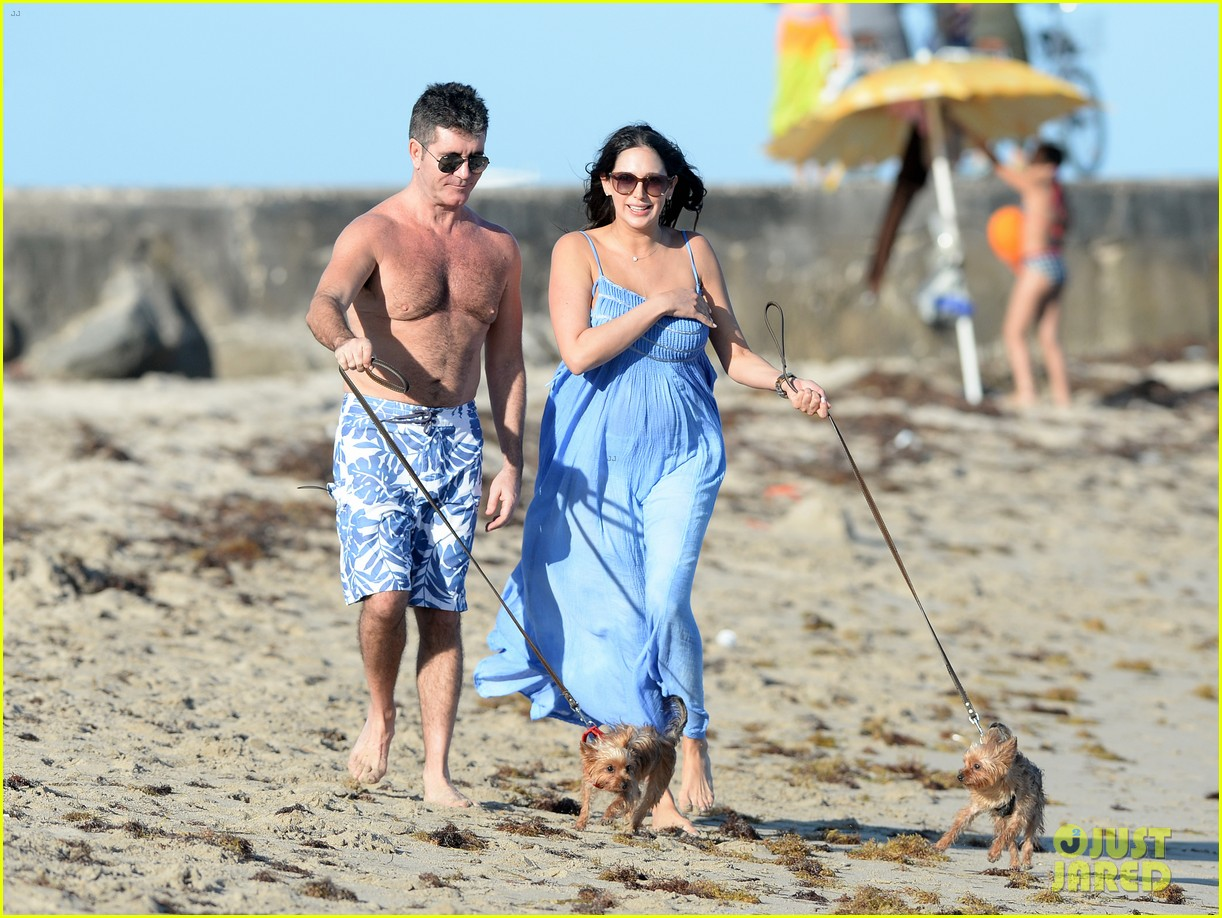 shirtless simon cowell and lauren silverman post baby beachside stroll 083059187
