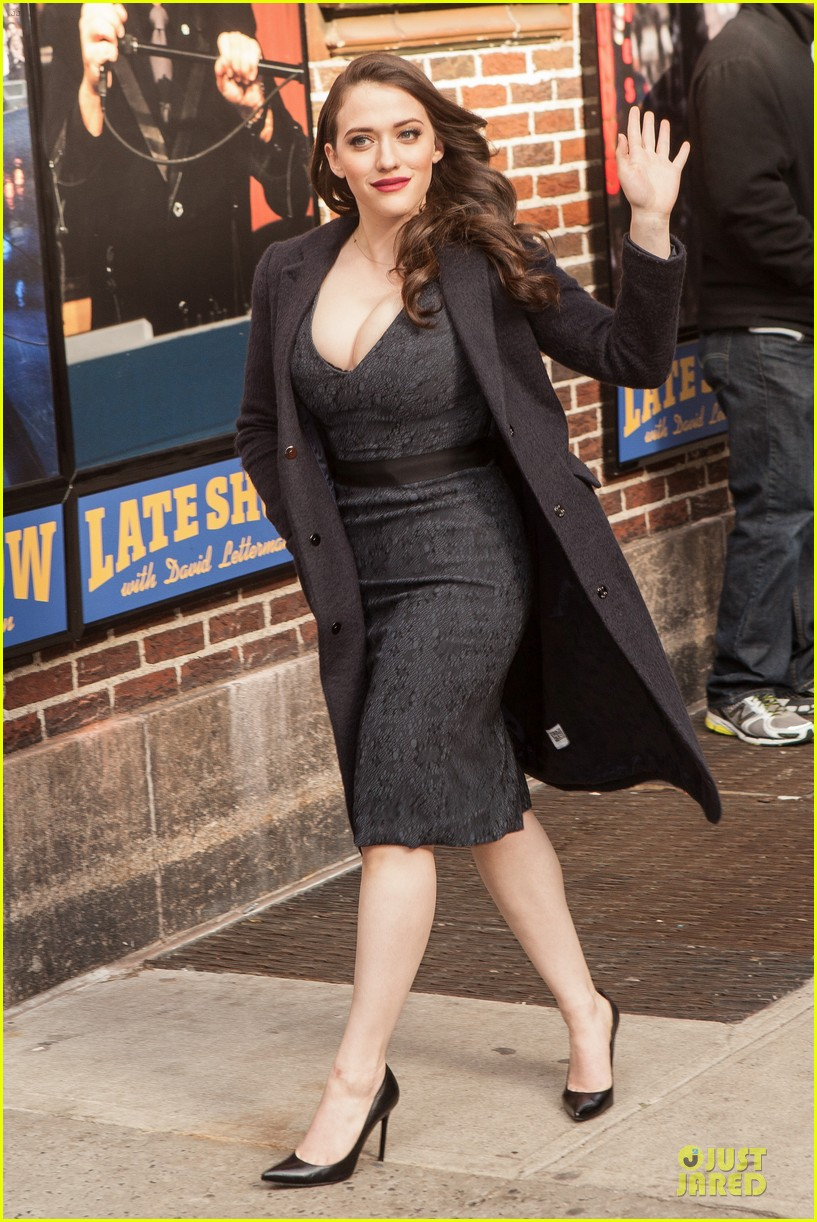 kat dennings bares cleavage for 2 broke girls promo tour 01