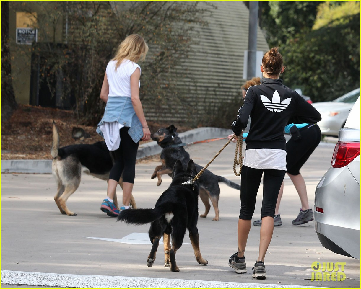 cameron diaz nicole richie walk their dogs together 083059696