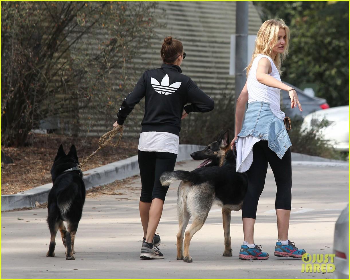 cameron diaz nicole richie walk their dogs together 103059698