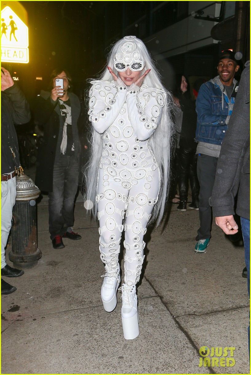 lady gaga is a bride see her throwing a bouquet of flowers 113057631