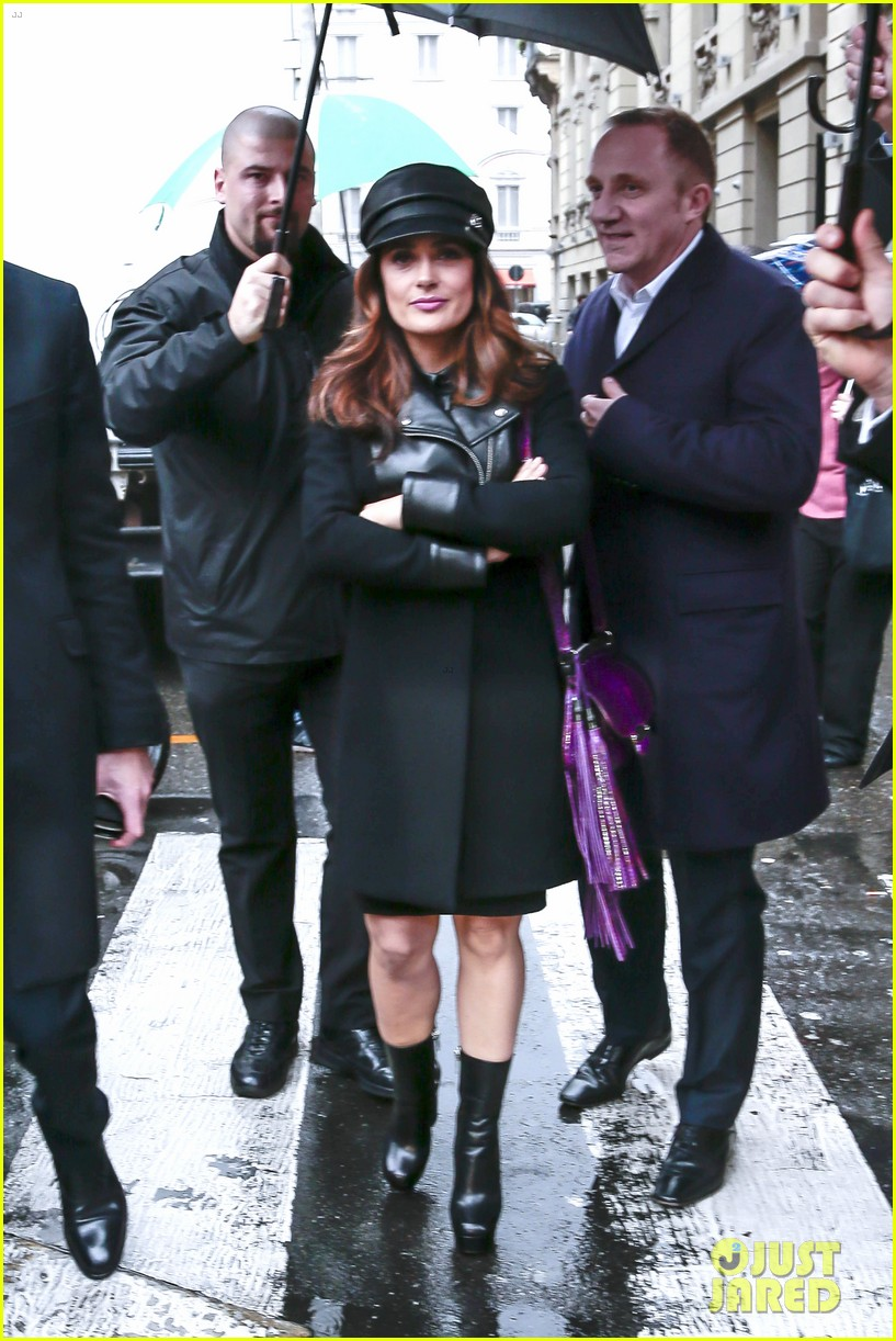 salma hayek gucci fashion show with francois henri pinault 163056657