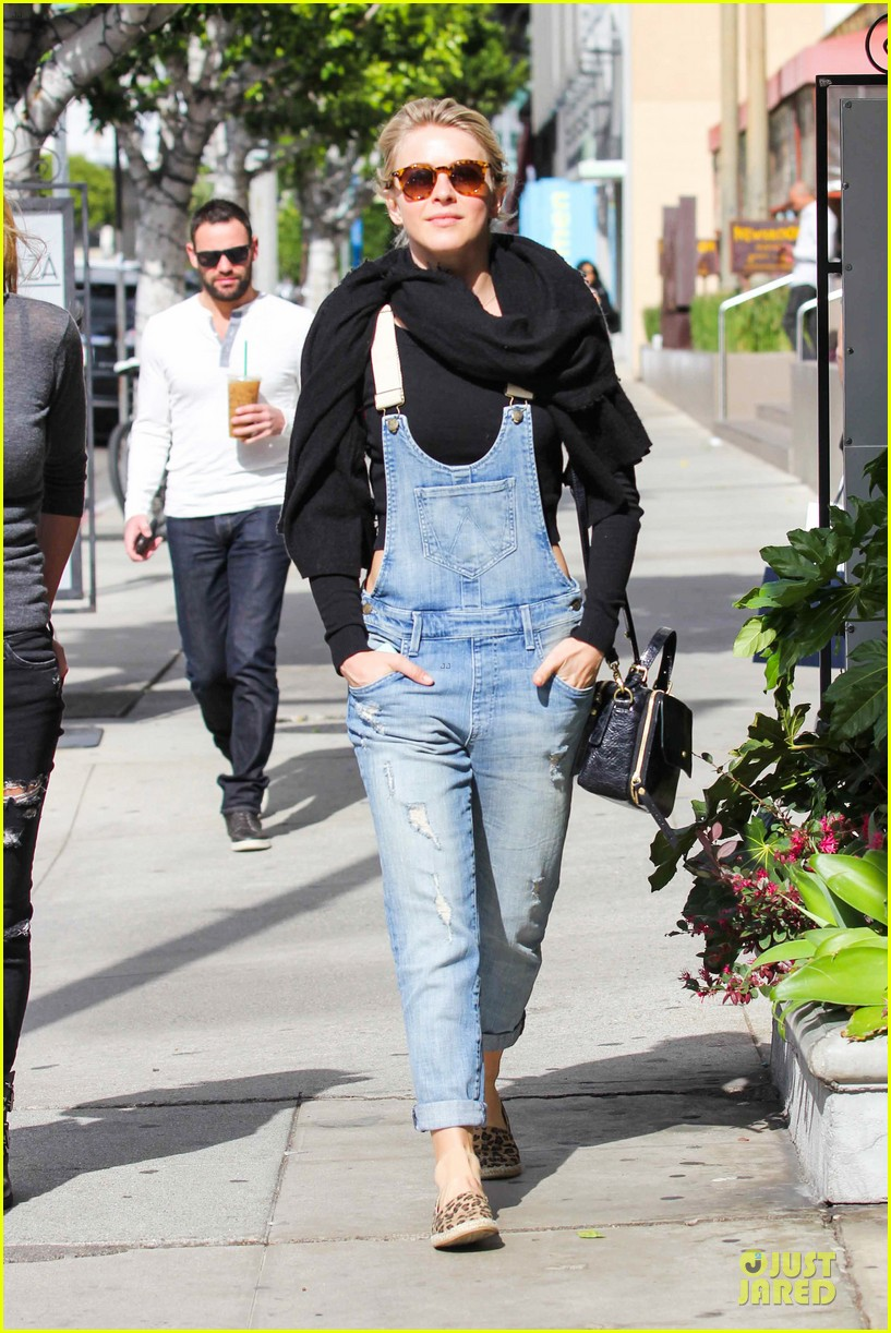julianne hough sports denim overalls for newsroom brunch 07