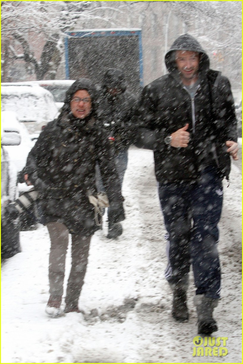 hugh jackman snowy workout after the super bowl 2014 093047343