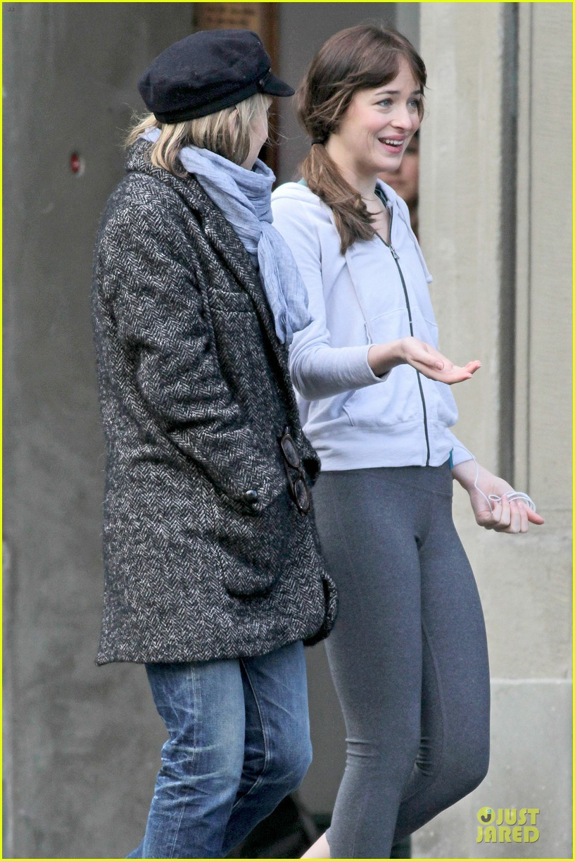 dakota johnson runs for fifty shades in pigtails 203053507