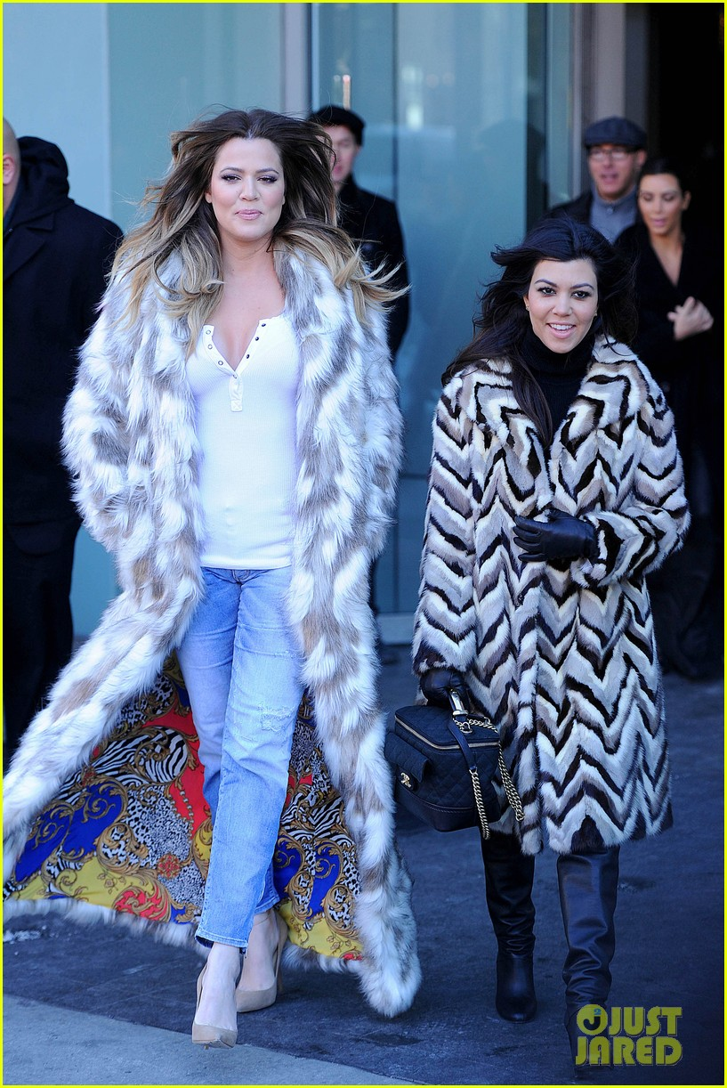 kim kardashian films kuwtk with her sisters khloe sends message on coat fxck yo fur 083055126