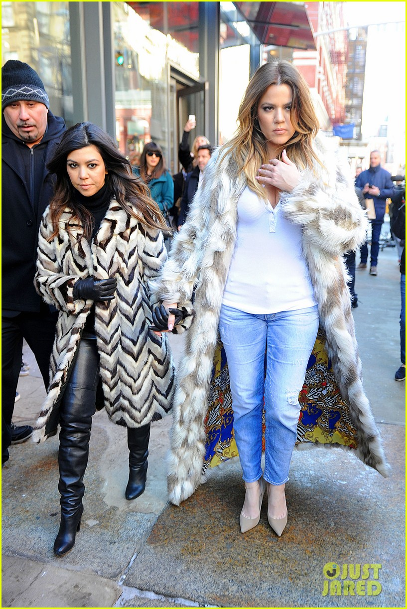 kim kardashian films kuwtk with her sisters khloe sends message on coat fxck yo fur 093055127