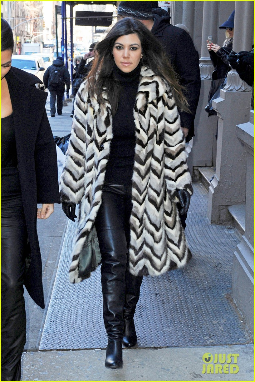 kim kardashian films kuwtk with her sisters khloe sends message on coat fxck yo fur 143055132